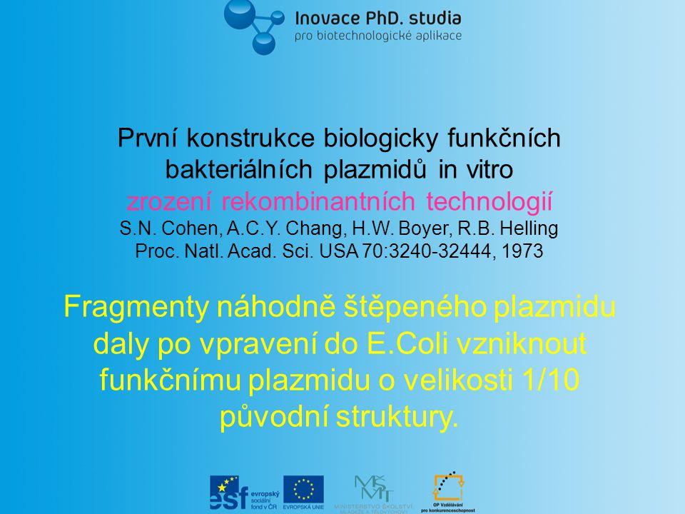 První konstrukce biologicky funkčních bakteriálních plazmidů in vitro zrození rekombinantních technologií S.N.