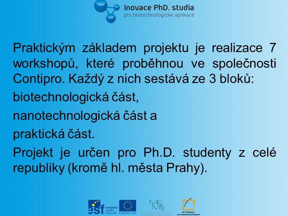 Praktickým základem projektu je realizace 7 workshopů, které proběhnou ve společnosti Contipro. Každý z nich sestává ze 3 bloků: biotechnologická část