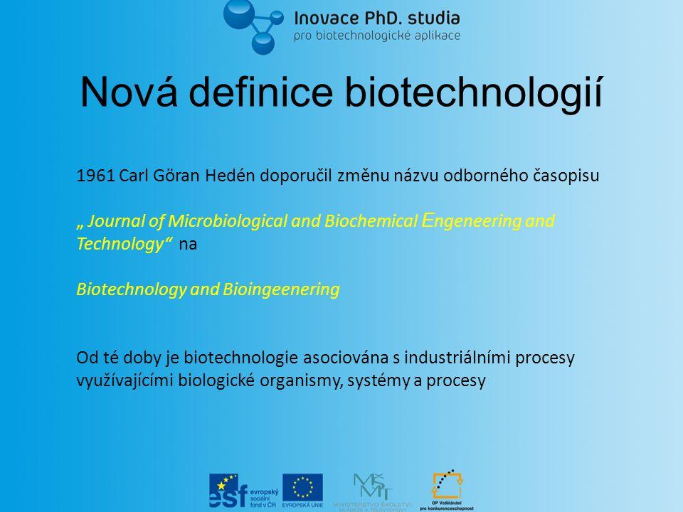 """Nová definice biotechnologií 1961 Carl Göran Hedén doporučil změnu názvu odborného časopisu """" Journal of Microbiological and Biochemical E ngeneering"""