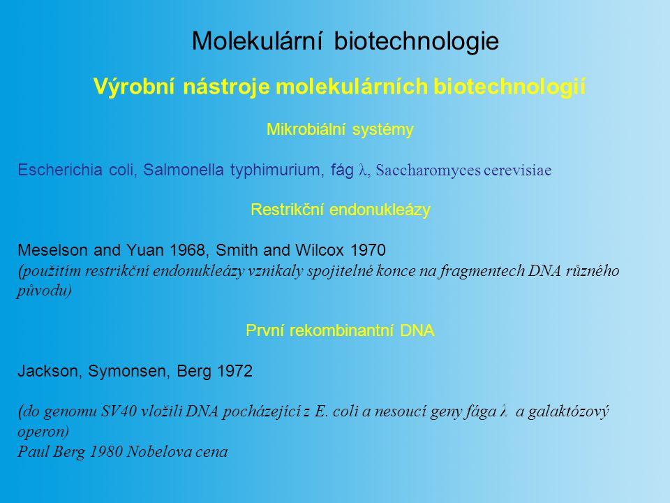 Výrobní nástroje molekulárních biotechnologií Mikrobiální systémy Escherichia coli, Salmonella typhimurium, fág λ, Saccharomyces cerevisiae Restrikční endonukleázy Meselson and Yuan 1968, Smith and Wilcox 1970 ( použitím restrikční endonukleázy vznikaly spojitelné konce na fragmentech DNA různého původu) První rekombinantní DNA Jackson, Symonsen, Berg 1972 ( do genomu SV40 vložili DNA pocházející z E.