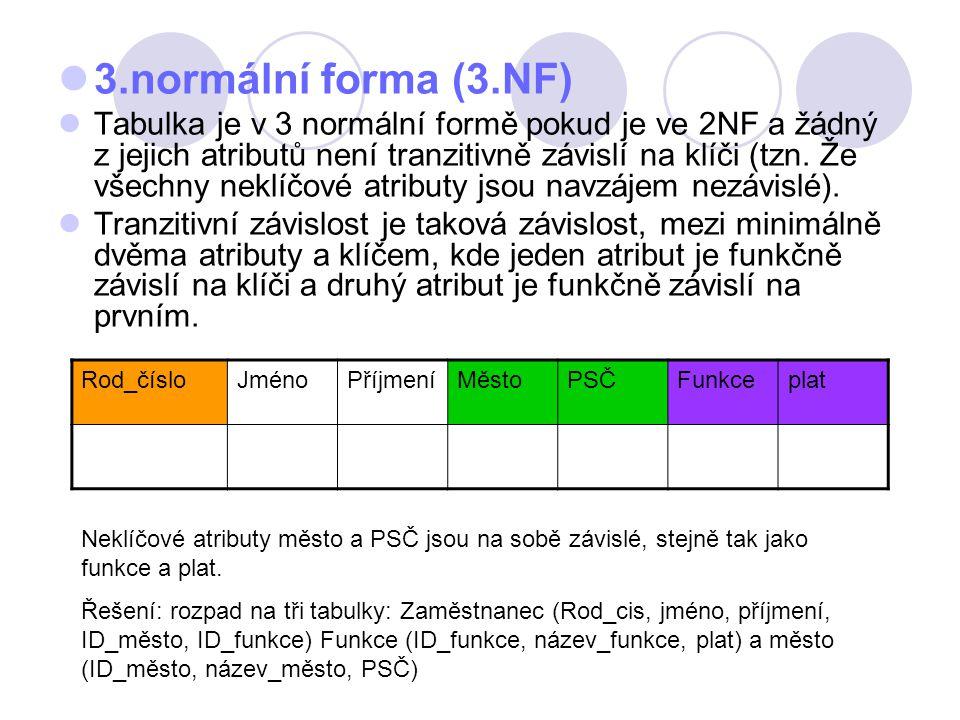 3.normální forma (3.NF) Tabulka je v 3 normální formě pokud je ve 2NF a žádný z jejich atributů není tranzitivně závislí na klíči (tzn. Že všechny nek