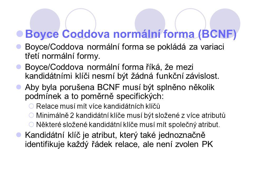 Boyce Coddova normální forma (BCNF) Boyce/Coddova normální forma se pokládá za variaci třetí normální formy. Boyce/Coddova normální forma říká, že mez