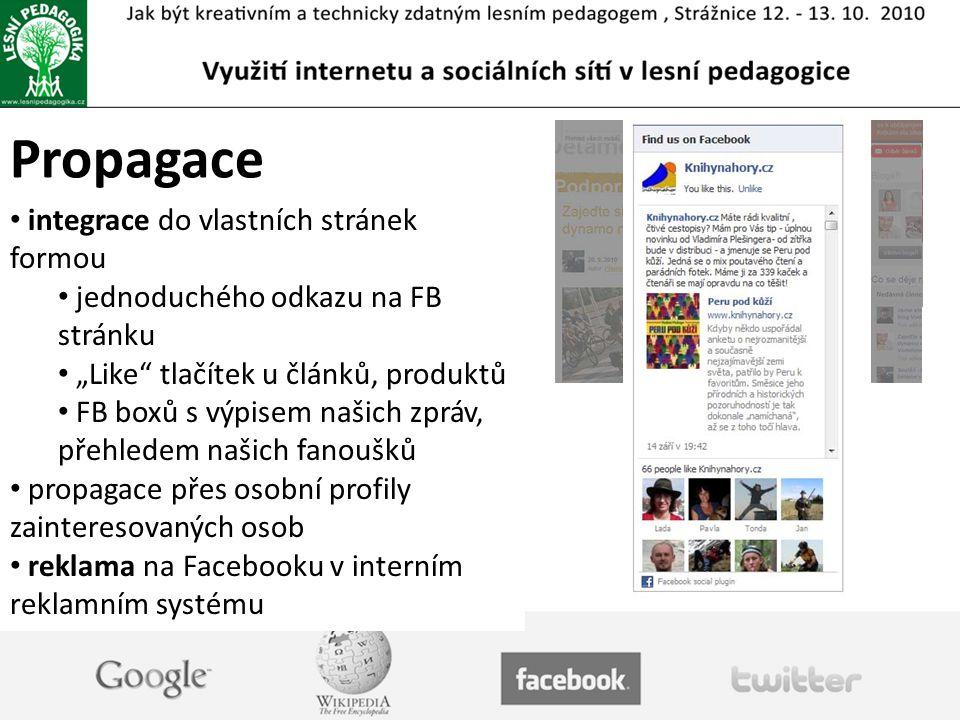 """Propagace integrace do vlastních stránek formou jednoduchého odkazu na FB stránku """"Like tlačítek u článků, produktů FB boxů s výpisem našich zpráv, přehledem našich fanoušků propagace přes osobní profily zainteresovaných osob reklama na Facebooku v interním reklamním systému"""