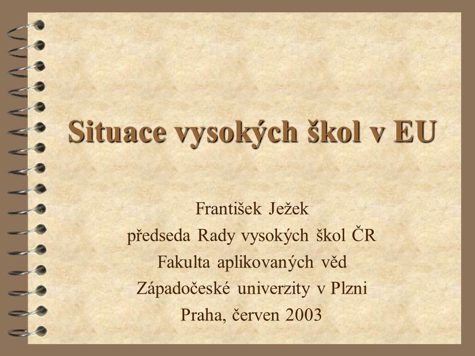 Situace vysokých škol v EU František Ježek předseda Rady vysokých škol ČR Fakulta aplikovaných věd Západočeské univerzity v Plzni Praha, červen 2003