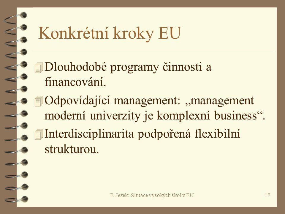 """F. Ježek: Situace vysokých škol v EU17 Konkrétní kroky EU 4 Dlouhodobé programy činnosti a financování. 4 Odpovídající management: """"management moderní"""