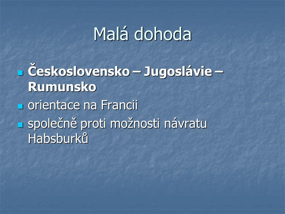 Malá dohoda Československo – Jugoslávie – Rumunsko Československo – Jugoslávie – Rumunsko orientace na Francii orientace na Francii společně proti mož