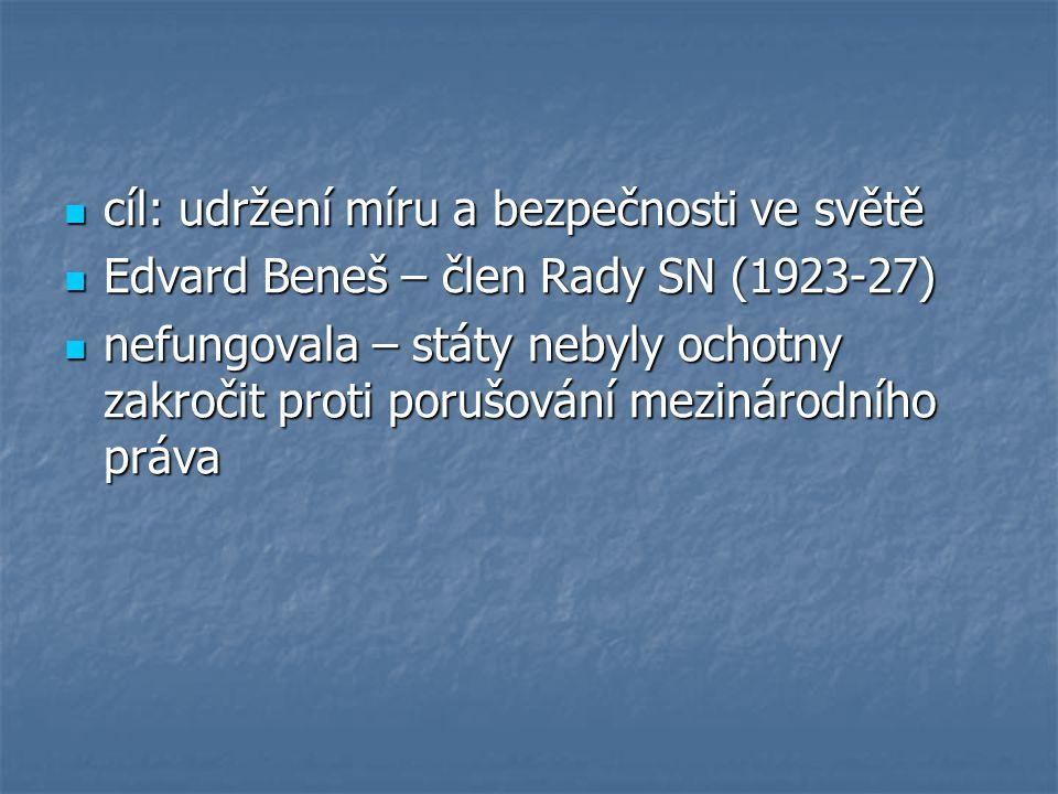 cíl: udržení míru a bezpečnosti ve světě cíl: udržení míru a bezpečnosti ve světě Edvard Beneš – člen Rady SN (1923-27) Edvard Beneš – člen Rady SN (1