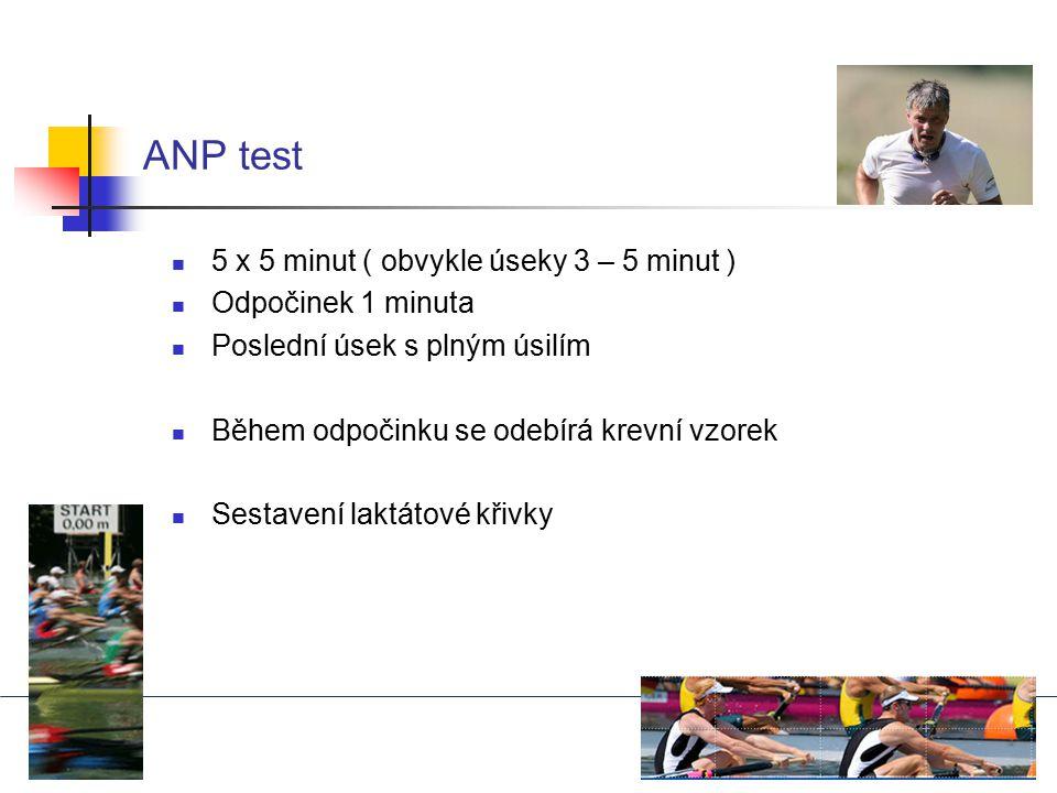 ANP test 5 x 5 minut ( obvykle úseky 3 – 5 minut ) Odpočinek 1 minuta Poslední úsek s plným úsilím Během odpočinku se odebírá krevní vzorek Sestavení