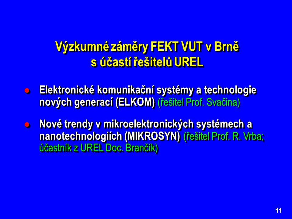 11 Výzkumné záměry FEKT VUT v Brně s účastí řešitelů UREL Výzkumné záměry FEKT VUT v Brně s účastí řešitelů UREL Elektronické komunikační systémy a technologie nových generací (ELKOM) Elektronické komunikační systémy a technologie nových generací (ELKOM) (řešitel Prof.