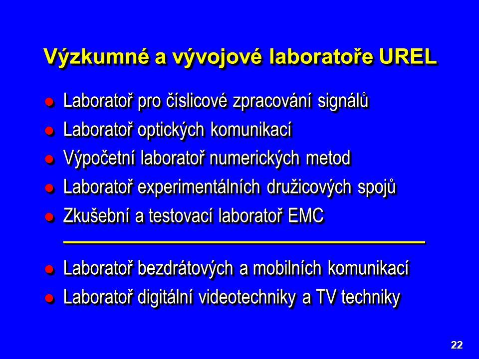 Výzkumné a vývojové laboratoře UREL 22 Laboratoř pro číslicové zpracování signálů Laboratoř pro číslicové zpracování signálů Laboratoř optických komunikací Laboratoř optických komunikací Výpočetní laboratoř numerických metod Výpočetní laboratoř numerických metod Laboratoř experimentálních družicových spojů Laboratoř experimentálních družicových spojů Zkušební a testovací laboratoř EMC Zkušební a testovací laboratoř EMC Laboratoř bezdrátových a mobilních komunikací Laboratoř bezdrátových a mobilních komunikací Laboratoř digitální videotechniky a TV techniky Laboratoř digitální videotechniky a TV techniky Laboratoř pro číslicové zpracování signálů Laboratoř pro číslicové zpracování signálů Laboratoř optických komunikací Laboratoř optických komunikací Výpočetní laboratoř numerických metod Výpočetní laboratoř numerických metod Laboratoř experimentálních družicových spojů Laboratoř experimentálních družicových spojů Zkušební a testovací laboratoř EMC Zkušební a testovací laboratoř EMC Laboratoř bezdrátových a mobilních komunikací Laboratoř bezdrátových a mobilních komunikací Laboratoř digitální videotechniky a TV techniky Laboratoř digitální videotechniky a TV techniky