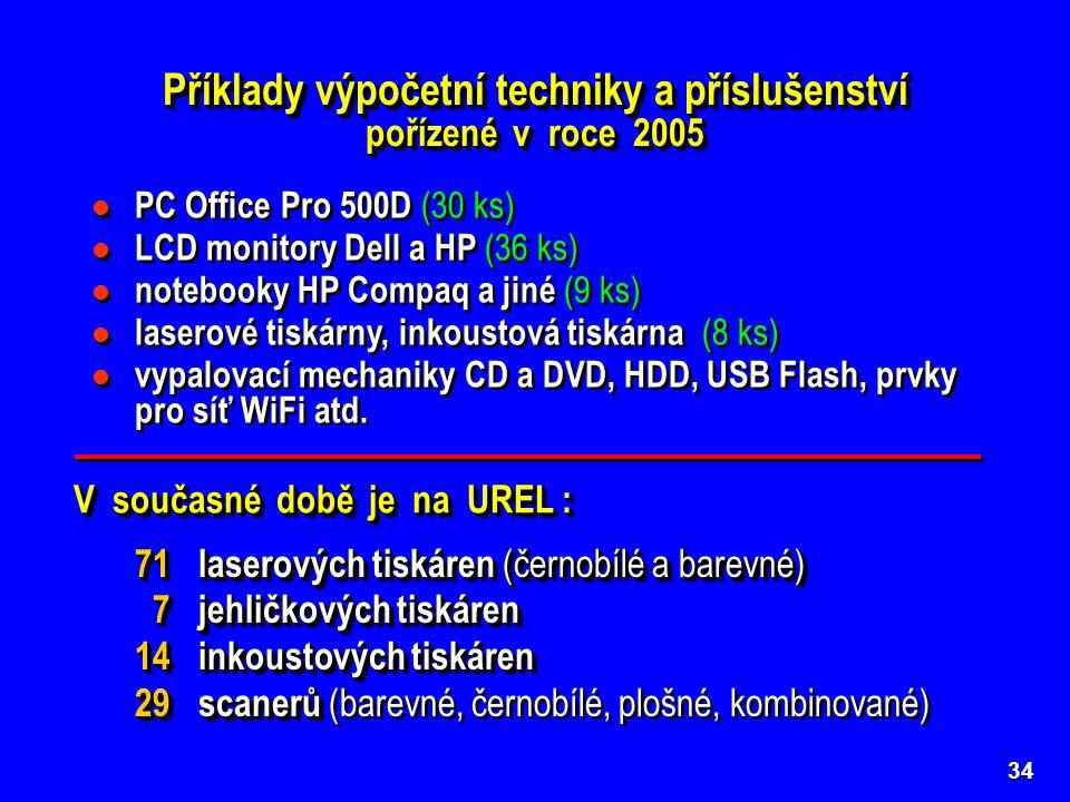 34 Příklady výpočetní techniky a příslušenství pořízené v roce 2005 PC Office Pro 500D (30 ks) LCD monitory Dell a HP (36 ks) notebooky HP Compaq a jiné (9 ks) laserové tiskárny, inkoustová tiskárna (8 ks) vypalovací mechaniky CD a DVD, HDD, USB Flash, prvky pro síť WiFi atd.