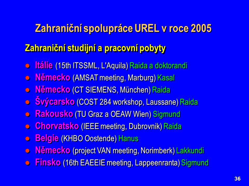 36 Zahraniční spolupráce UREL v roce 2005 Zahraniční studijní a pracovní pobyty Itálie (15th ITSSML, L Aquila) Raida a doktorandi Německo (AMSAT meeting, Marburg) Kasal Německo (CT SIEMENS, München) Raida Švýcarsko (COST 284 workshop, Laussane) Raida Rakousko (TU Graz a OEAW Wien) Sigmund Chorvatsko (IEEE meeting, Dubrovnik) Raida Belgie (KHBO Oostende) Hanus Německo (project VAN meeting, Norimberk) Lakkundi Finsko (16th EAEEIE meeting, Lappeenranta) Sigmund Itálie (15th ITSSML, L Aquila) Raida a doktorandi Německo (AMSAT meeting, Marburg) Kasal Německo (CT SIEMENS, München) Raida Švýcarsko (COST 284 workshop, Laussane) Raida Rakousko (TU Graz a OEAW Wien) Sigmund Chorvatsko (IEEE meeting, Dubrovnik) Raida Belgie (KHBO Oostende) Hanus Německo (project VAN meeting, Norimberk) Lakkundi Finsko (16th EAEEIE meeting, Lappeenranta) Sigmund