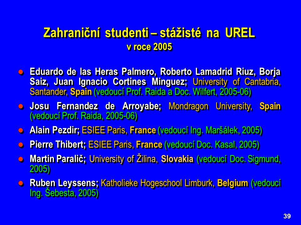 Zahraniční studenti – stážisté na UREL v roce 2005 Zahraniční studenti – stážisté na UREL v roce 2005 39 Eduardo de las Heras Palmero, Roberto Lamadrid Riuz, Borja Saiz, Juan Ignacio Cortines Minguez; University of Cantabria, Santander, Spain (vedoucí Prof.