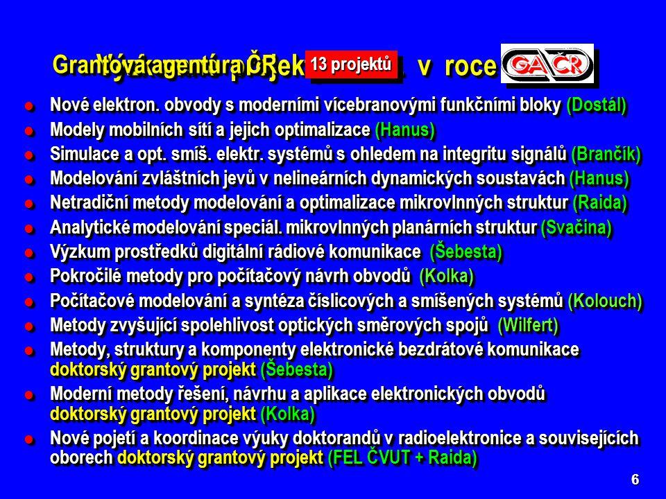 6 Výzkumné projekty UREL v roce 2005 Nové elektron.