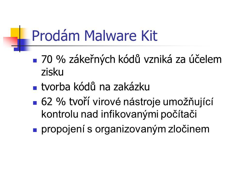 Prodám Malware Kit 70 % zákeřných kódů vzniká za účelem zisku tvorba kódů na zakázku 62 % tvoří virové nástroje umožňující kontrolu nad infikovanými p