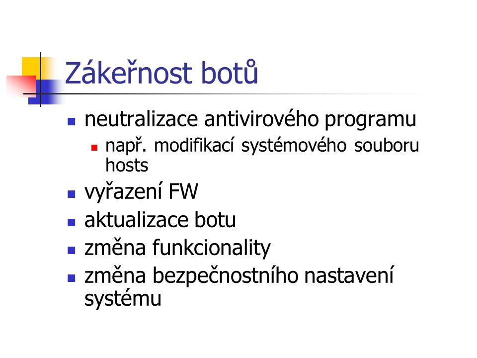 Zákeřnost botů neutralizace antivirového programu např. modifikací systémového souboru hosts vyřazení FW aktualizace botu změna funkcionality změna be