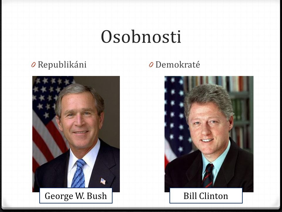 Osobnosti 0 Republikáni 0 Demokraté George W. BushBill Clinton