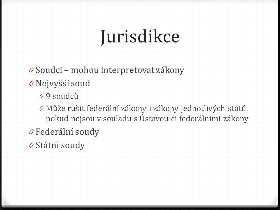 Jurisdikce 0 Soudci – mohou interpretovat zákony 0 Nejvyšší soud 0 9 soudců 0 Může rušit federální zákony i zákony jednotlivých států, pokud nejsou v souladu s Ústavou či federálními zákony 0 Federální soudy 0 Státní soudy