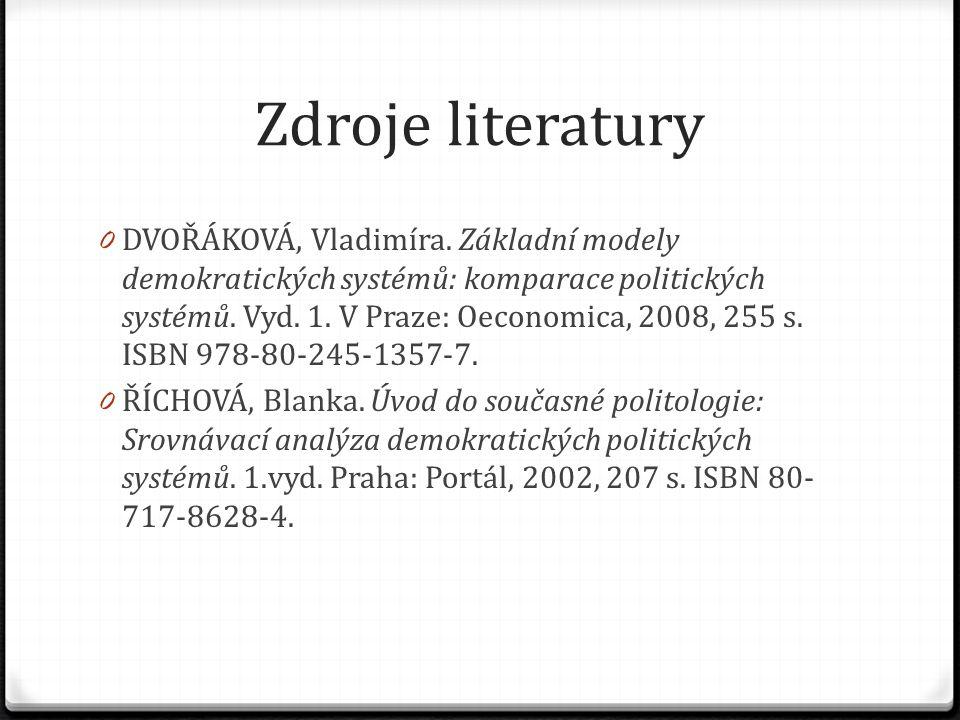 Zdroje literatury 0 DVOŘÁKOVÁ, Vladimíra.