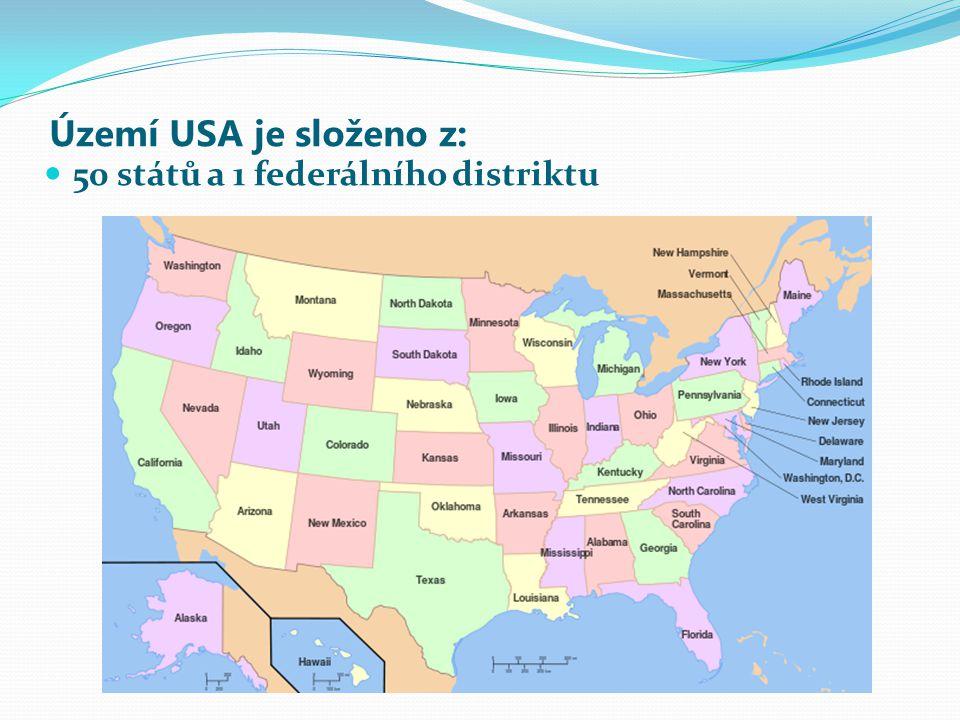 Území USA je složeno z: 50 států a 1 federálního distriktu
