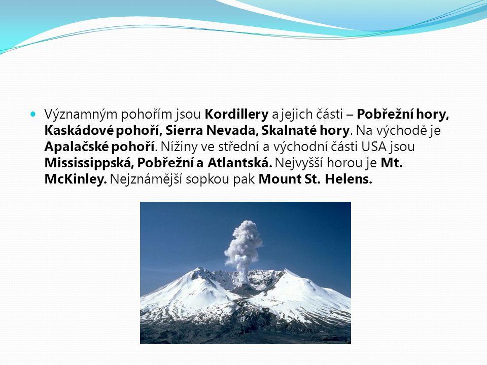 Významným pohořím jsou Kordillery a jejich části – Pobřežní hory, Kaskádové pohoří, Sierra Nevada, Skalnaté hory.