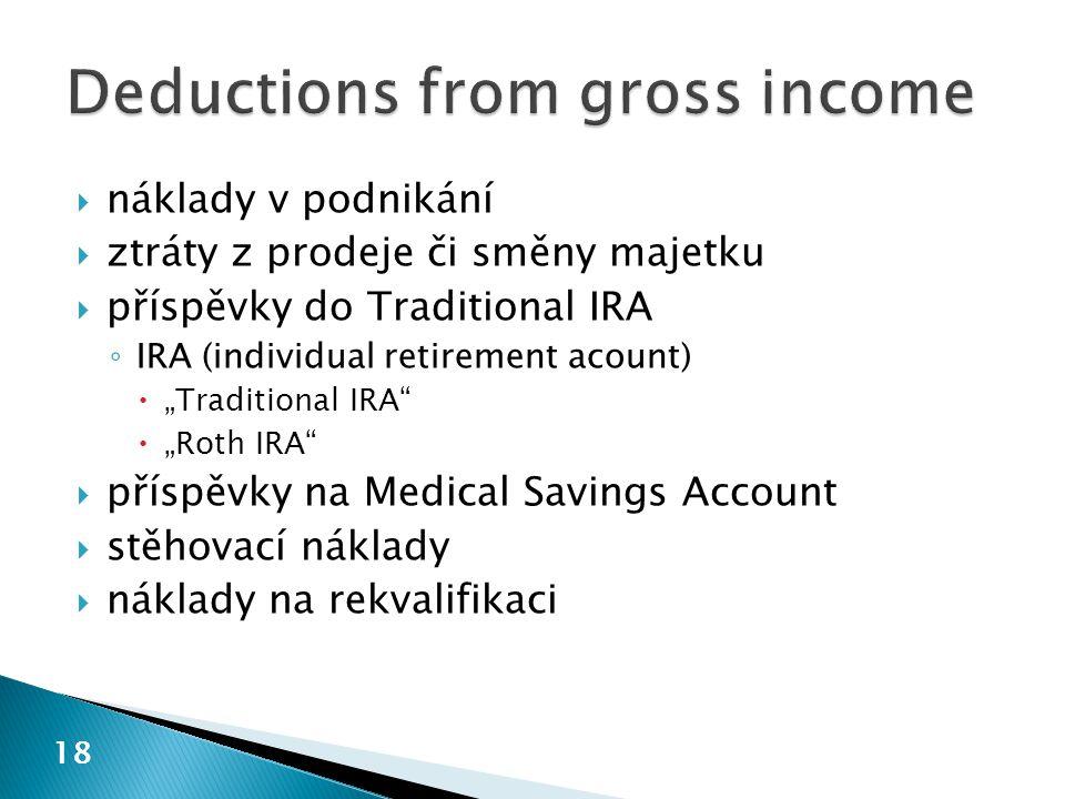 """18  náklady v podnikání  ztráty z prodeje či směny majetku  příspěvky do Traditional IRA ◦ IRA (individual retirement acount)  """"Traditional IRA"""" """