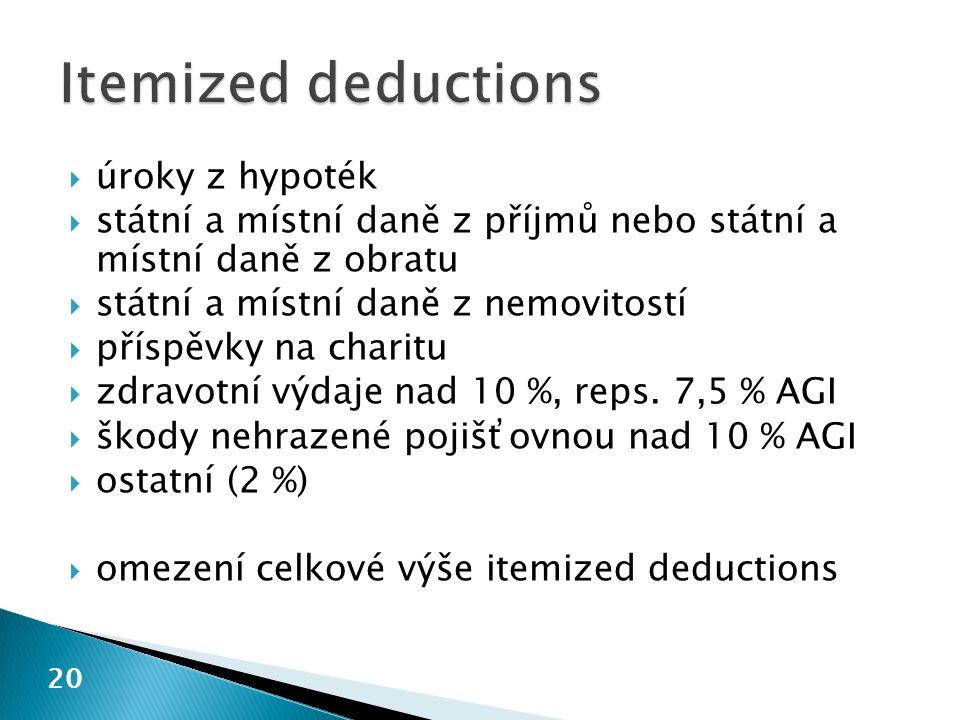 20  úroky z hypoték  státní a místní daně z příjmů nebo státní a místní daně z obratu  státní a místní daně z nemovitostí  příspěvky na charitu 