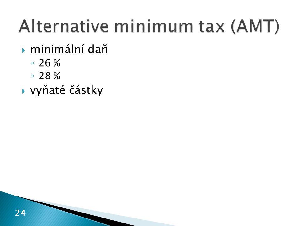 24  minimální daň ◦ 26 % ◦ 28 %  vyňaté částky