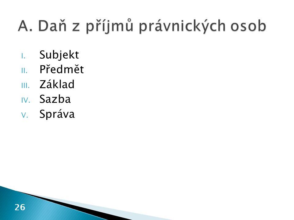I. Subjekt II. Předmět III. Základ IV. Sazba V. Správa 26