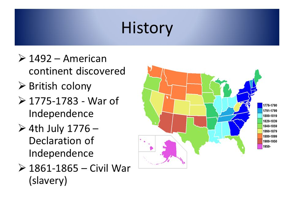 History  1492 – American continent discovered  British colony  1775-1783 - War of Independence  4th July 1776 – Declaration of Independence  1861-1865 – Civil War (slavery)