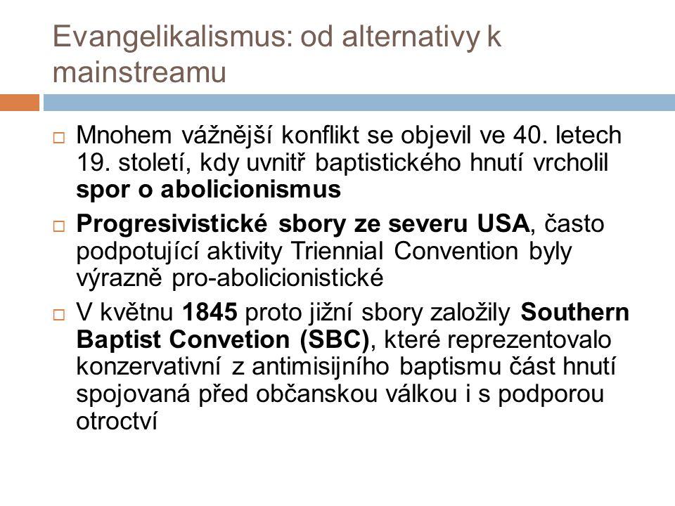 Evangelikalismus: od alternativy k mainstreamu  Mnohem vážnější konflikt se objevil ve 40.
