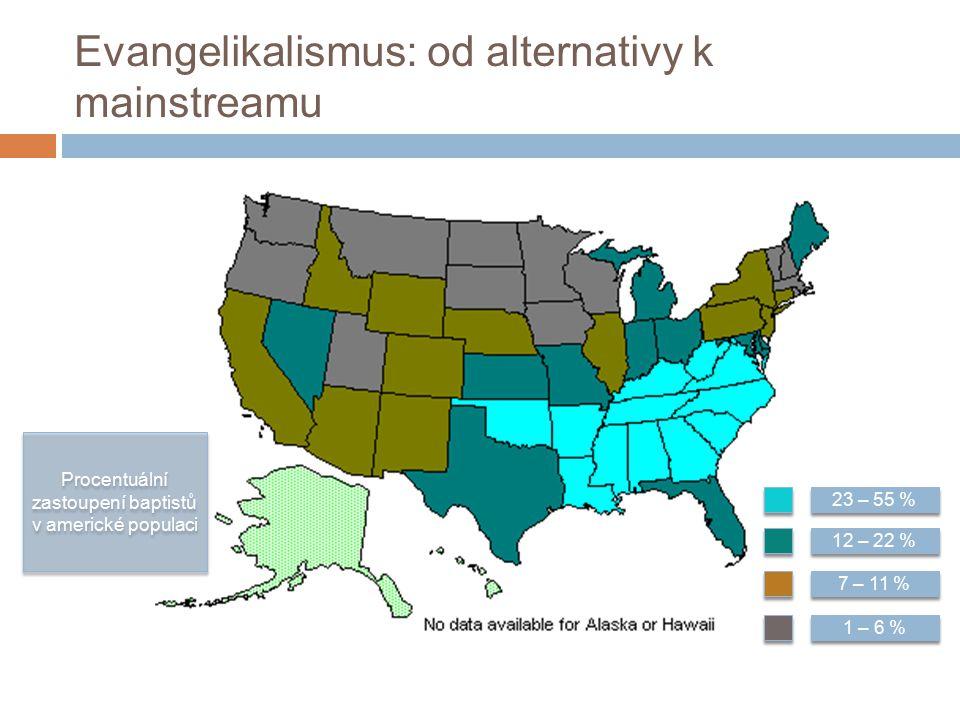 Evangelikalismus: od alternativy k mainstreamu 23 – 55 % 12 – 22 % 7 – 11 % 1 – 6 % Procentuální zastoupení baptistů v americké populaci