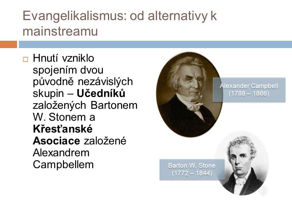 Evangelikalismus: od alternativy k mainstreamu  Hnutí vzniklo spojením dvou původně nezávislých skupin – Učedníků založených Bartonem W.