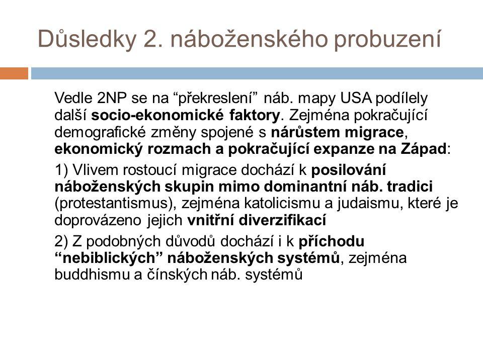 Důsledky 2. náboženského probuzení Vedle 2NP se na překreslení náb.
