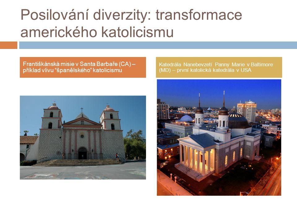 Posilování diverzity: transformace amerického katolicismu Františkánská misie v Santa Barbaře (CA) – příklad vlivu španělského katolicismu Katedrála Nanebevzetí Panny Marie v Baltimore (MD) – první katolická katedrála v USA