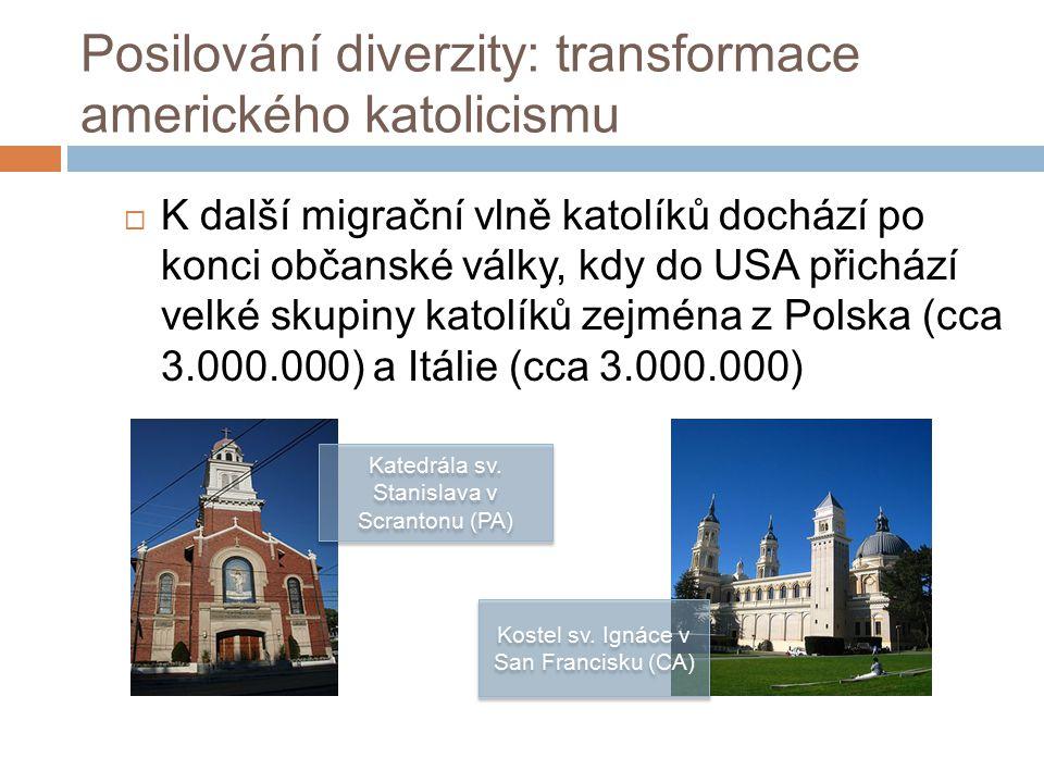 Posilování diverzity: transformace amerického katolicismu  K další migrační vlně katolíků dochází po konci občanské války, kdy do USA přichází velké skupiny katolíků zejména z Polska (cca 3.000.000) a Itálie (cca 3.000.000) Katedrála sv.