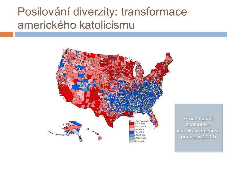 Posilování diverzity: transformace amerického katolicismu Procentuální zastoupení katolíků v americké populaci (2000)