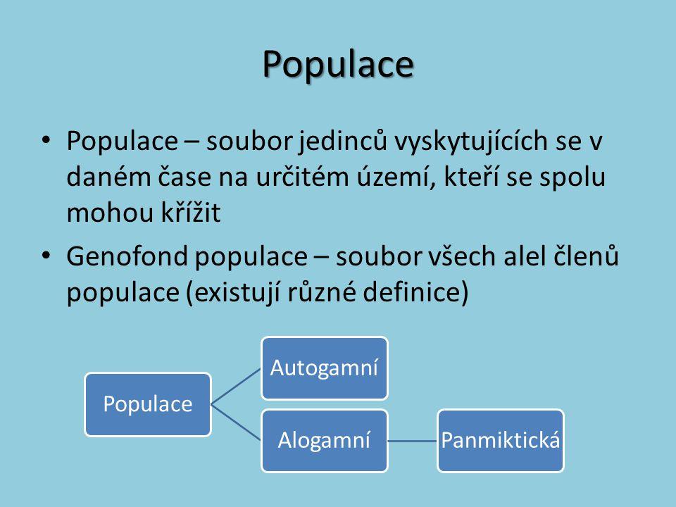 Populace Populace – soubor jedinců vyskytujících se v daném čase na určitém území, kteří se spolu mohou křížit Genofond populace – soubor všech alel č
