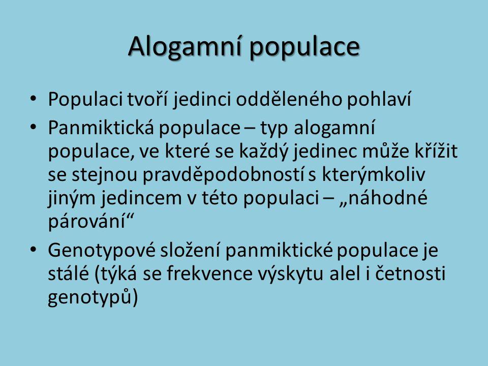 Alogamní populace Populaci tvoří jedinci odděleného pohlaví Panmiktická populace – typ alogamní populace, ve které se každý jedinec může křížit se ste