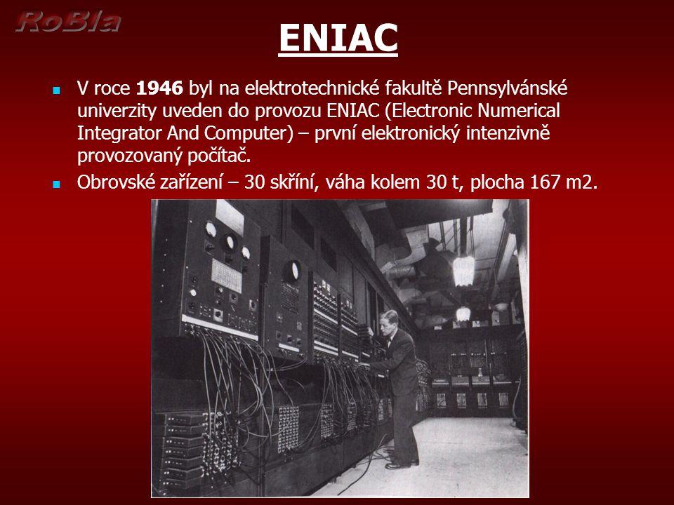 ENIAC V roce 1946 byl na elektrotechnické fakultě Pennsylvánské univerzity uveden do provozu ENIAC (Electronic Numerical Integrator And Computer) – pr
