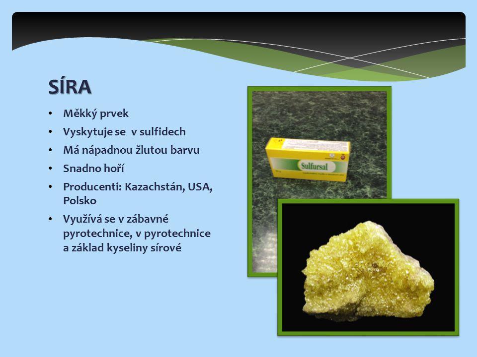 Měkký prvek Vyskytuje se v sulfidech Má nápadnou žlutou barvu Snadno hoří Producenti: Kazachstán, USA, Polsko Využívá se v zábavné pyrotechnice, v pyrotechnice a základ kyseliny sírové SÍRA