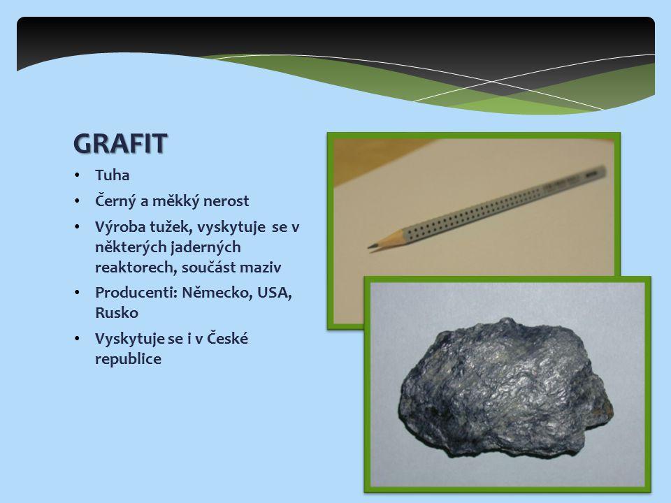 Velmi tvrdý a čirý nerost Krystalická forma uhlíku Využívá se především ve šperkařství, ale i pro výrobu například řezacích kotoučů Producenti: Rusko, Kanada, Angola, Namibie Vzniká za působení teplot a tlaků v horním plášti zemské kůry DIAMANT