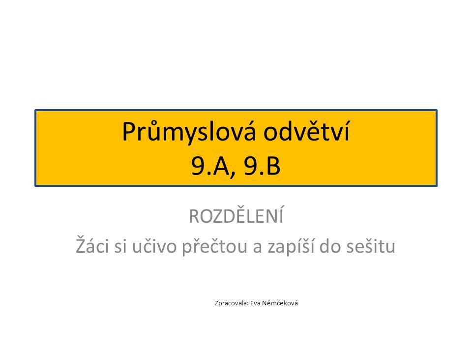 ROZDĚLENÍ Žáci si učivo přečtou a zapíší do sešitu Průmyslová odvětví 9.A, 9.B Zpracovala: Eva Němčeková