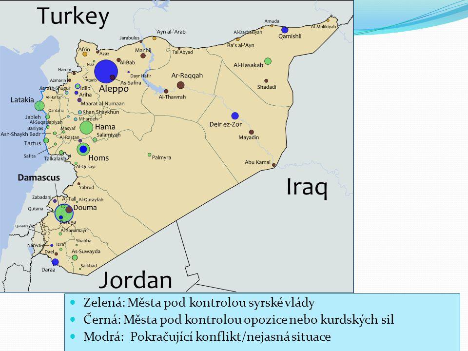 5 Zelená: Města pod kontrolou syrské vlády Černá: Města pod kontrolou opozice nebo kurdských sil Modrá: Pokračující konflikt/nejasná situace