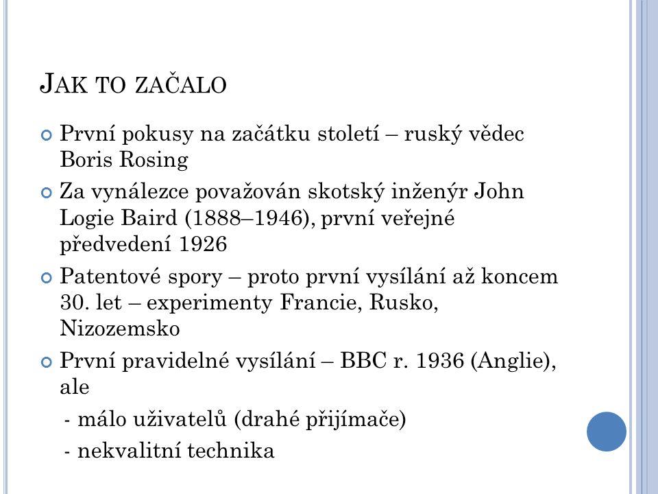 J AK TO ZAČALO První pokusy na začátku století – ruský vědec Boris Rosing Za vynálezce považován skotský inženýr John Logie Baird (1888–1946), první v
