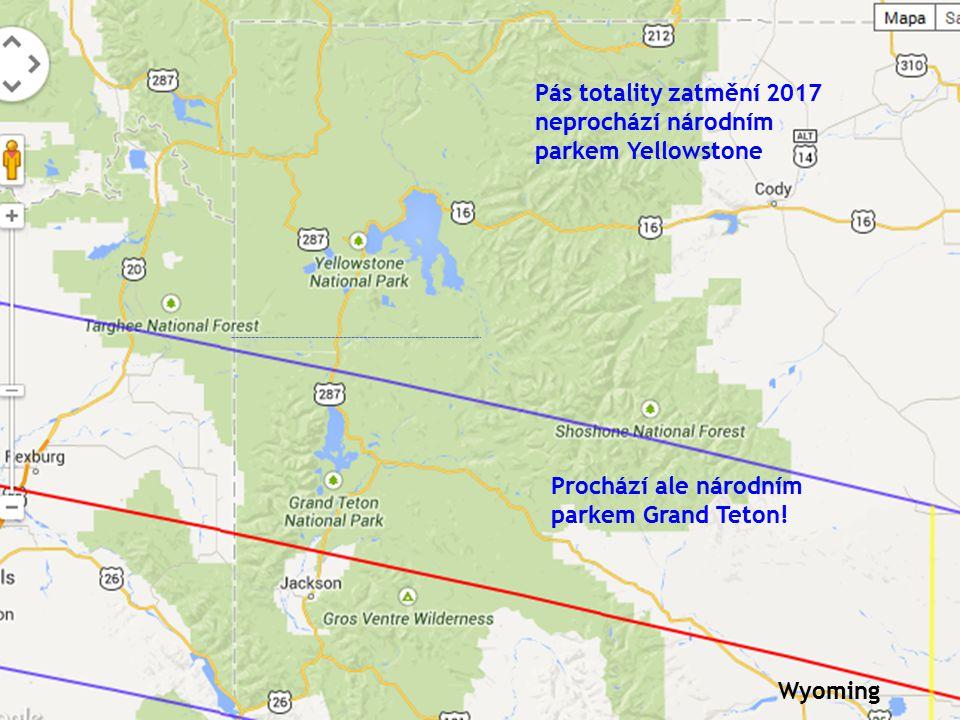 Pás totality zatmění 2017 neprochází národním parkem Yellowstone Prochází ale národním parkem Grand Teton.
