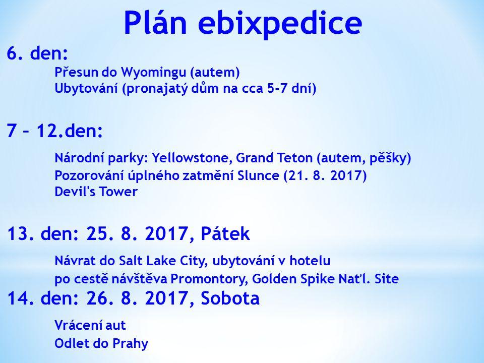 Plán ebixpedice 6. den: Přesun do Wyomingu (autem) Ubytování (pronajatý dům na cca 5-7 dní) 7 – 12.den: Národní parky: Yellowstone, Grand Teton (autem