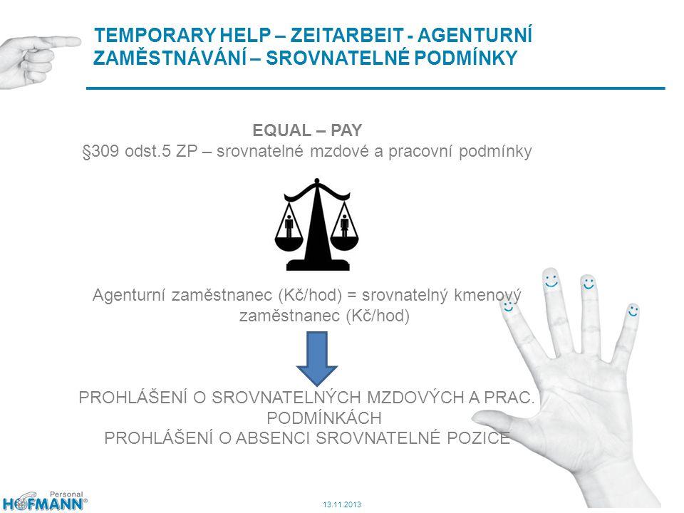 10 TEMPORARY HELP – ZEITARBEIT - AGENTURNÍ ZAMĚSTNÁVÁNÍ – SROVNATELNÉ PODMÍNKY 13.11.2013 EQUAL – PAY §309 odst.5 ZP – srovnatelné mzdové a pracovní podmínky Agenturní zaměstnanec (Kč/hod) = srovnatelný kmenový zaměstnanec (Kč/hod) PROHLÁŠENÍ O SROVNATELNÝCH MZDOVÝCH A PRAC.