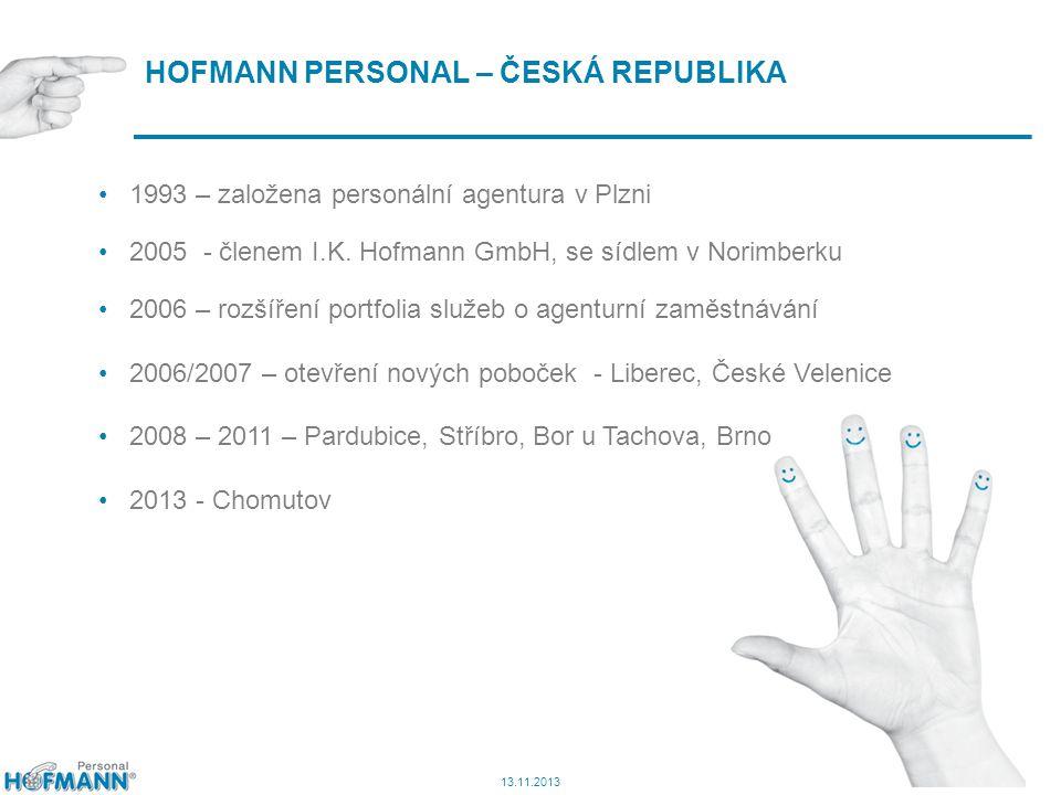 6 HOFMANN PERSONAL – ČESKÁ REPUBLIKA 1993 – založena personální agentura v Plzni 2005 - členem I.K. Hofmann GmbH, se sídlem v Norimberku 2006 – rozšíř
