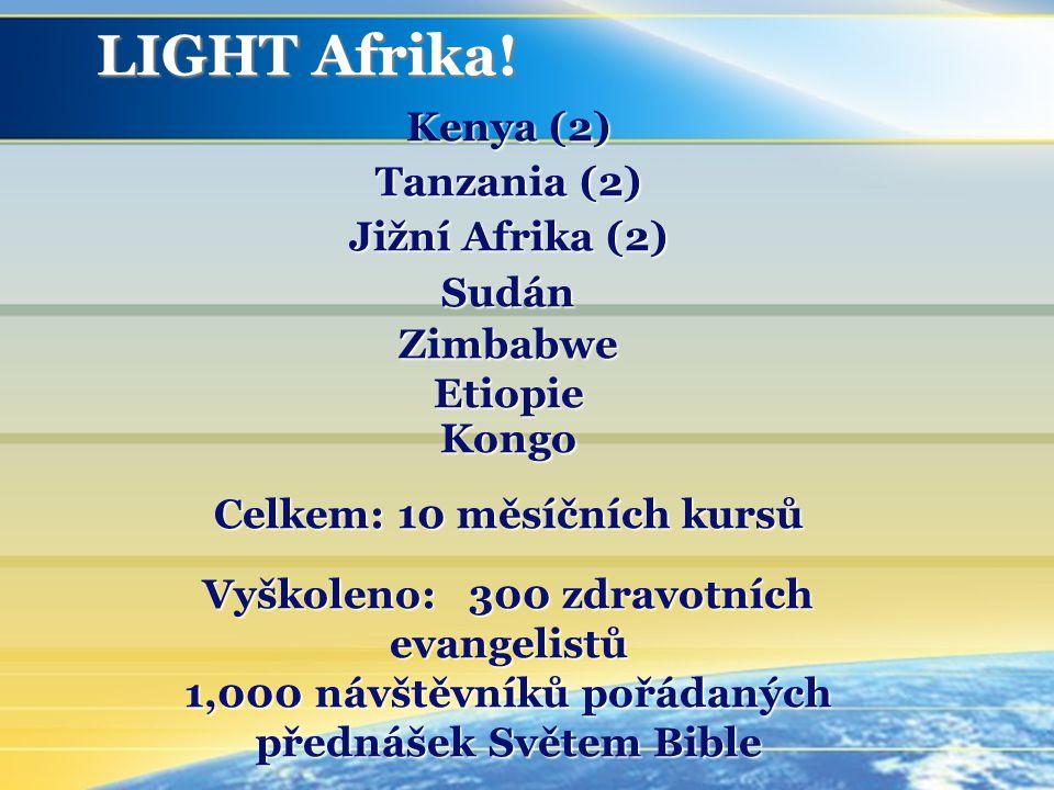 Kenya (2) Tanzania (2) Jižní Afrika (2) Sudán Zimbabwe Etiopie Kongo Celkem: 10 měsíčních kursů Vyškoleno: 300 zdravotních evangelistů 1,000 návštěvníků pořádaných přednášek Světem Bible LIGHT Afrika!